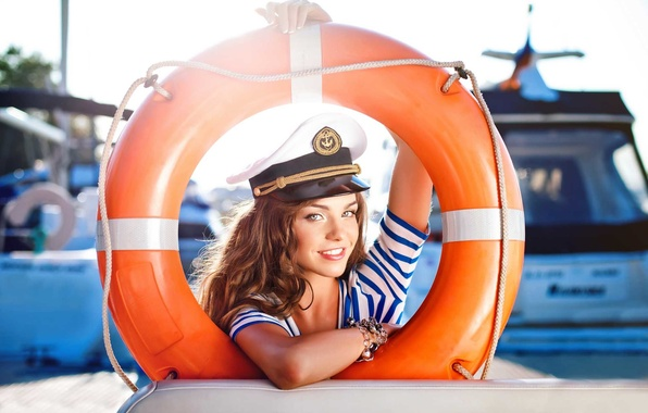 Picture look, girl, smile, round, sailor, brown hair, curls, rescue, Anna Konchakivs'ka