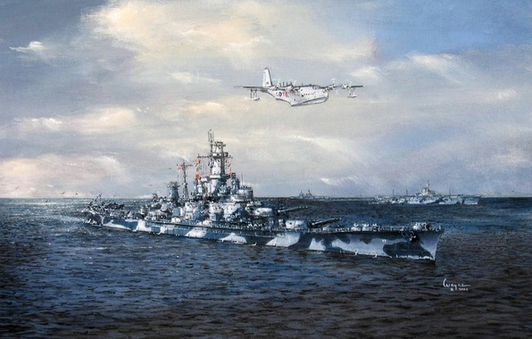 Picture sea, the sky, figure, art, the carrier, ship of the line, WW2, seaplane, US NAVY, …