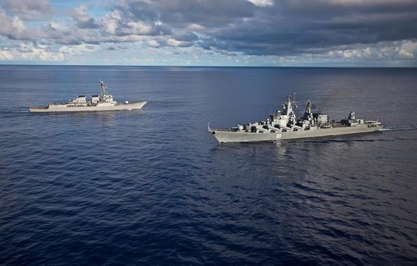 Picture Navy, cruiser, Meeting, 011 Varyag, USS Fitzgerald, Destroyer URO, Raketni