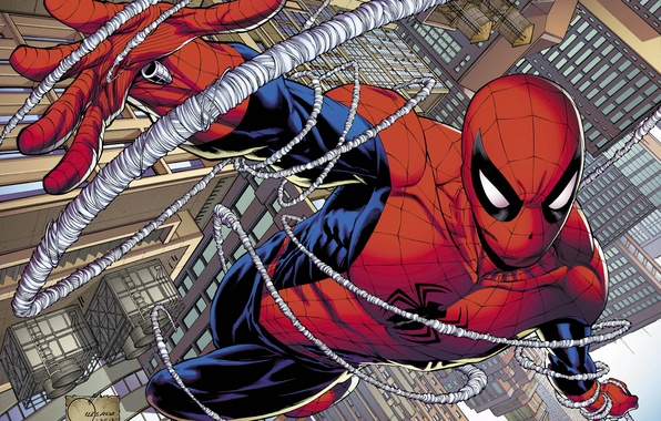 Picture spider-man, hero, costume, Marvel Comics, Peter Parker
