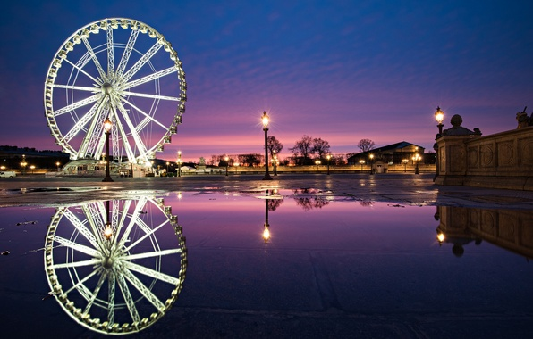 Picture the city, reflection, people, France, Paris, the evening, lights, Ferris wheel, fountain, Paris, France, The …