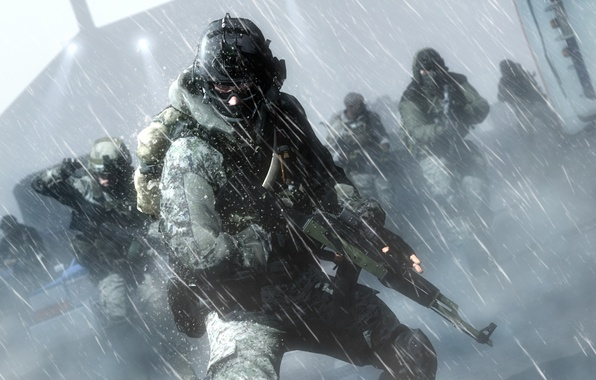 Picture soldier, snow, cold, assault rifle, Battlefield 4, equipment