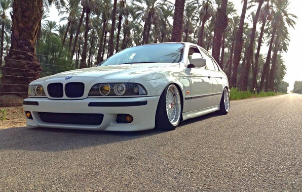 Picture Road, BMW, Tuning, White, BMW, E39, BBS, Stance