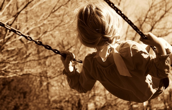 Picture trees, nature, children, childhood, background, swing, widescreen, Wallpaper, mood, child, Sepia, hairstyle, chain, girl, tape, ...