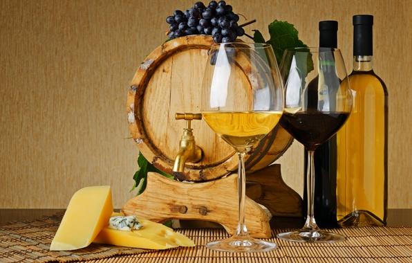 Picture wine, red, white, crane, cheese, glasses, grapes, bottle, barrel