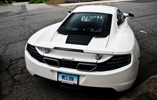 Picture road, white, supercar, white, supercar, road, back, McLaren, mp4, Mclaren, 12c