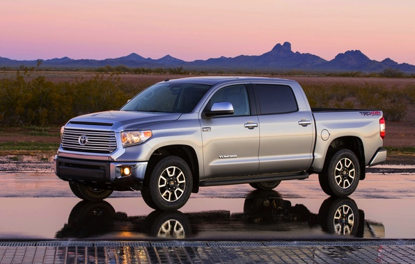 Picture Reflection, The evening, Machine, Grey, Toyota, Pickup, Toyota, Tundra, The view from the side