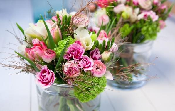 Picture branches, blur, Bouquet, vase