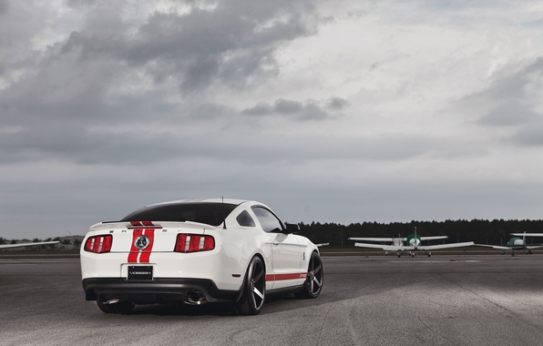 Picture white, the plane, Mustang, Ford, Shelby, Mustang, muscle car, Ford, muscle car, gt500, red stripes