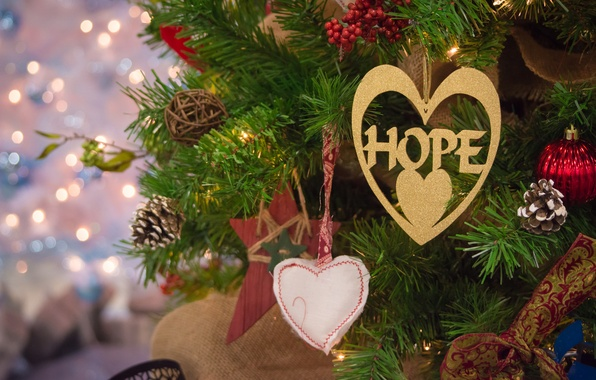Picture decoration, branches, lights, holiday, balls, toys, tree, Christmas, hearts, New year, lanterns, bokeh