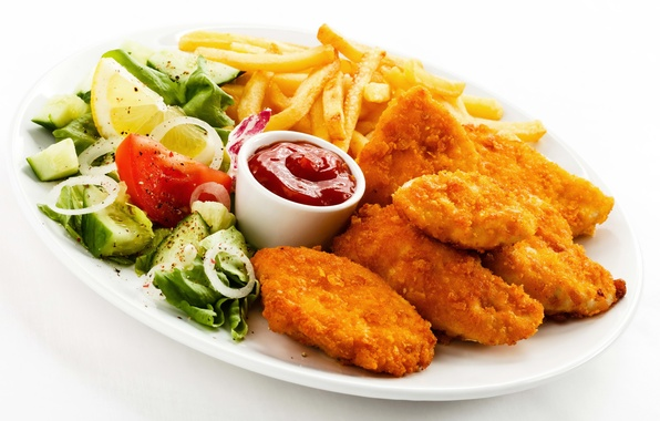 Picture lemon, chicken, lemon, tomato, ketchup, salad, French fries, chicken, sauce, potatoes