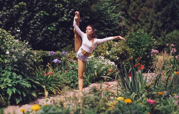 Picture girl, flowers, pose, garden, ballerina