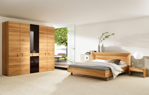 Picture sea, glass, leaves, flowers, tree, bed, the door, lamp, vase, wardrobe, sunbed, bedroom, stand