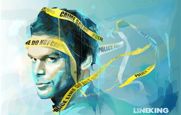Picture look, face, art, Dexter, the series, painting, yellow ribbon