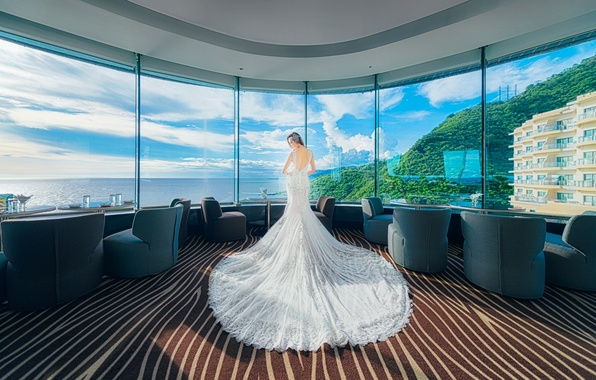 Picture girl, view, Windows, dress, panorama, the hotel