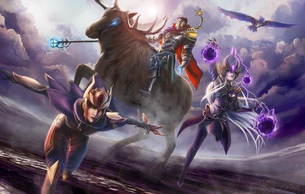 Picture League of Legends, Shyvana, Syndra, Viktor, the Dark Sovereign, Half-Dragon, Machine Herald