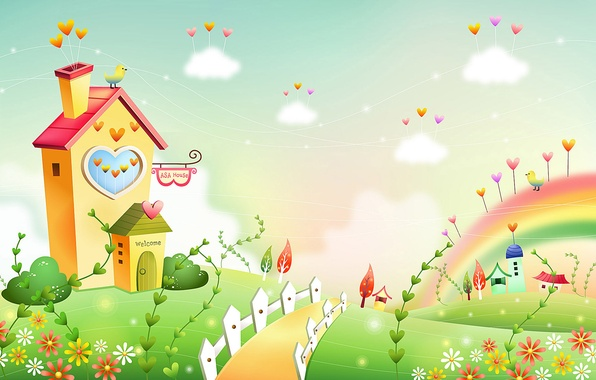 Picture grass, clouds, flowers, lawn, bird, the fence, home, track, hearts, house, baby Wallpaper
