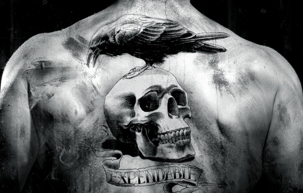 Picture the film, back, skull, black and white, tattoo, Raven, The Expendables, the expendables