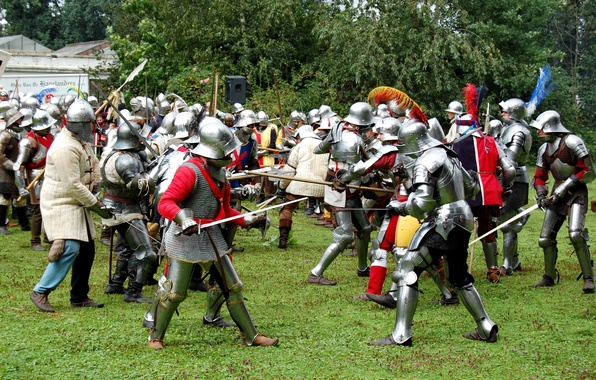Picture greens, grass, armor, battle, the battle, swords, the middle ages, shields, spears, hats, military-historical reconstruction