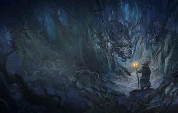 Picture monster, spider, hat, the Lord of the rings, art, MAG, staff, cave, Gandalf, spider, the …