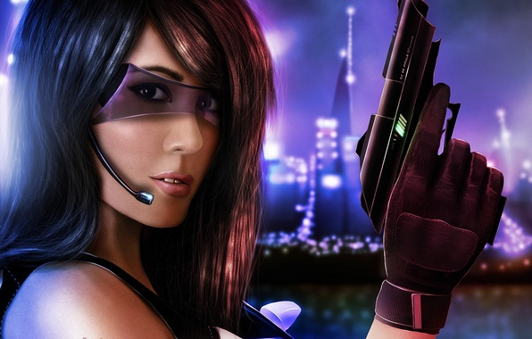 Picture girl, the city, gun, weapons, art, glasses