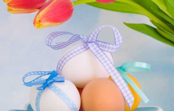 Picture flowers, eggs, spring, Easter, tulips, Easter