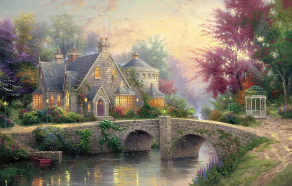 Picture summer, bridge, river, colorful, lights, painting, cottage, gazebo, river, bridge, art, estate, Thomas Kinkade, painting, …
