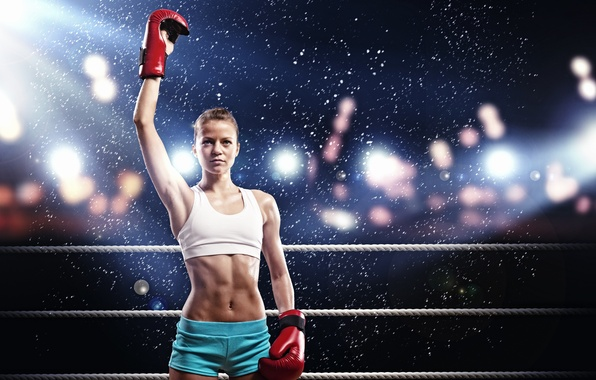Picture girl, sport, Boxing, the ring
