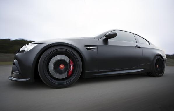 Picture road, the sky, black, bmw, BMW, speed, Matt, side view, road, speed, e92, matte black