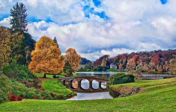 Picture autumn, the sky, clouds, trees, bridge, pond, Park, England, gazebo, Stourhead, England