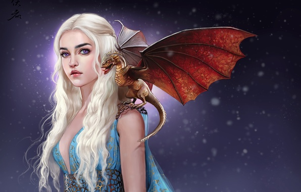 Picture girl, dragon, art, white hair, A Song of Ice and Fire, Game Of Thrones, A …