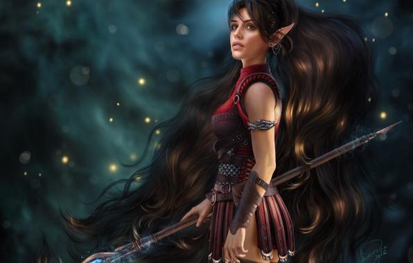 Photo wallpaper girl, hair, elf, fantasy, beauty, MAG, staff