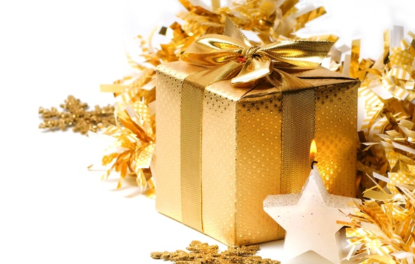 Picture decoration, snowflakes, gold, gift, Christmas, New year, golden, Christmas, box, gift, decoration, xmas, Merry