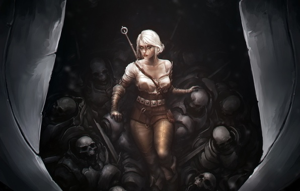 Picture death, sword, skull, art, well, The Witcher 3: Wild Hunt, Cirilla Fiona Elen Riannon, Ciri, …