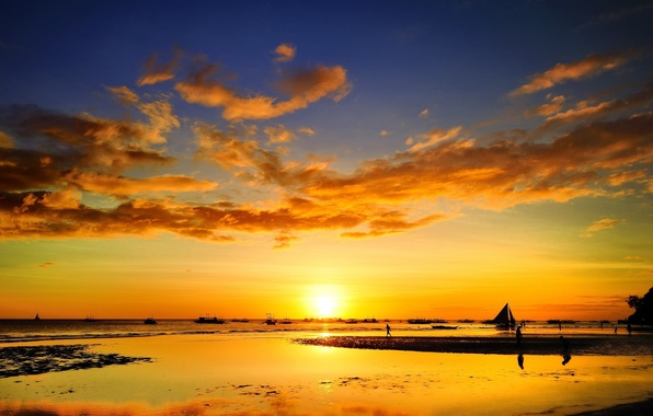 Picture sea, sunset, people, stay, ship, sailboat