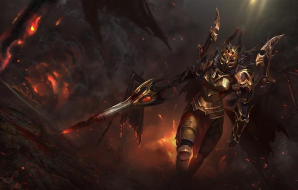 Picture girl, sword, helmet, armor, art, dota 2, legion commander, Tresdin, moba
