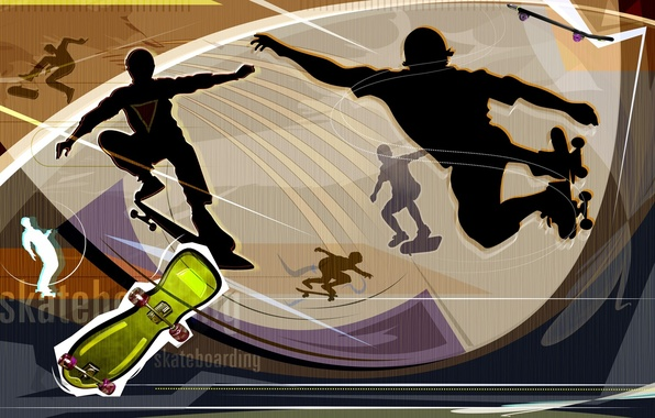 Picture abstraction, stay, Wallpaper, vector, silhouette, videos, Board, skateboard, entertainment, skateboard