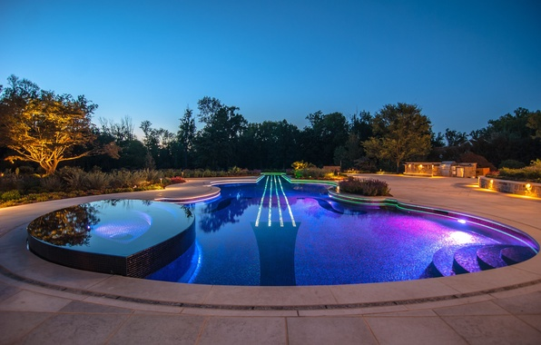 Picture trees, pool, Jacuzzi, pool, evening., desigens, luxory