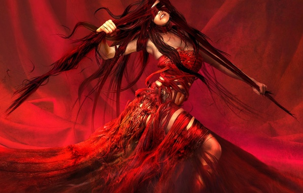 Picture girl, red, fantasy, figure