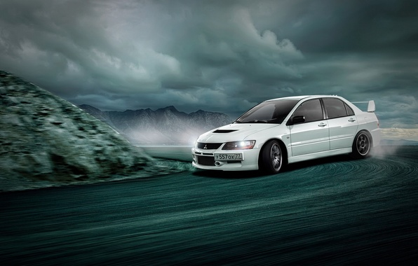 Picture Mitsubishi, Lancer, White, Evolution 9, Skid, Drifting
