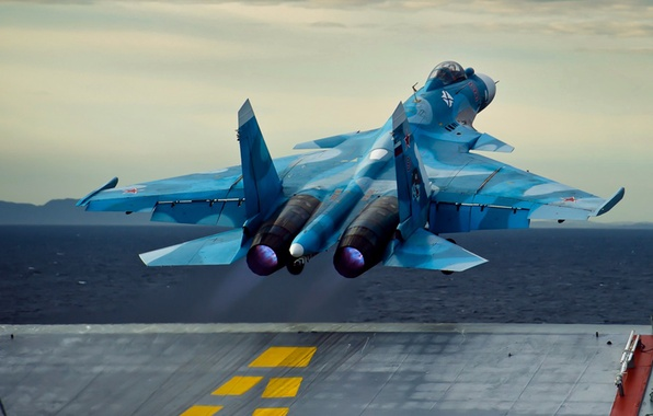 Picture the carrier, the rise, Sukhoi, Su-33, Navy, Flanker-D, Russian carrier-based fighter of the fourth generation
