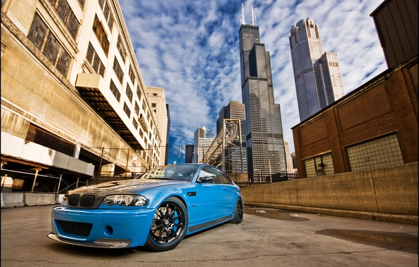 Picture bmw, BMW, lane, Chicago, blue, blue, e46