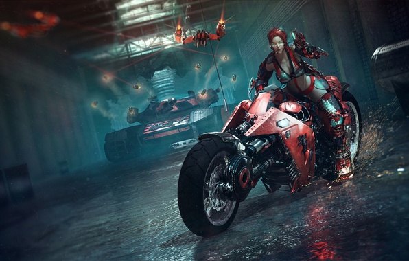 Picture girl, weapons, red, art, glasses, sparks, motorcycle, tank, lasers, the tunnel, Catalin Obreja