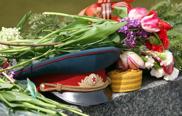 Picture flowers, May 9, victory day, cap