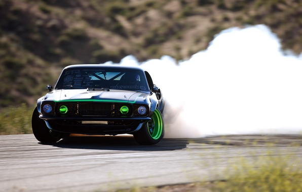 Picture smoke, skid, sport, drift, drift, Ford, ford mustang