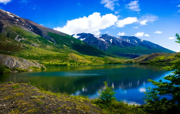 Picture clouds, mountains, lake, Argentina, Patagonia