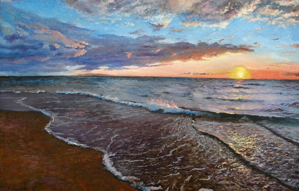 Picture sea, the sky, foam, water, the sun, clouds, sunset, shore, picture, painting, canvas, Lutsenko, sea …