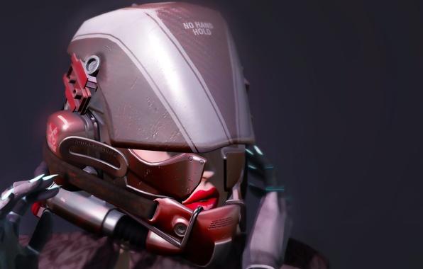Picture girl, face, background, helmet, equipment