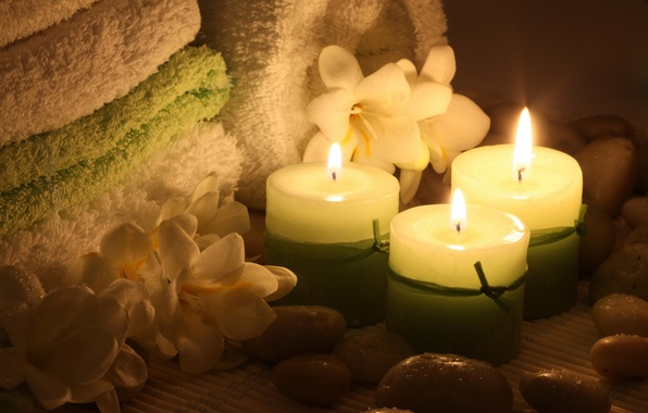 Picture flowers, towel, candles, flowers, Spa, Spa, candles, towel, Spa stones, Spa stones