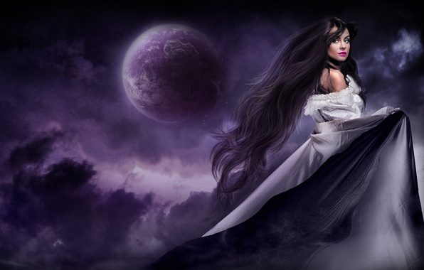 Picture girl, night, the moon, hair, dress